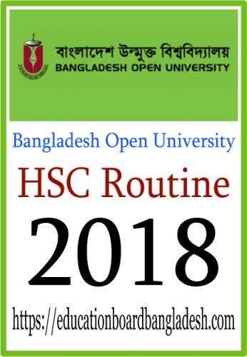 HSC Routine 2018 Bangladesh Open University