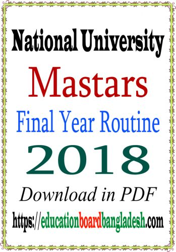 Masters exam routine (Final Year) 2018