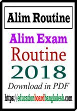 Alim Exam Routine 2018