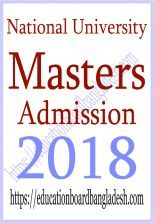 NU Masters 1st year Admission 2018 (Preliminary)