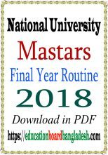 Masters Final Year Exam Routine 2018 (Old)
