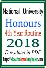 Honours 4th year Special Exam Routine 2018